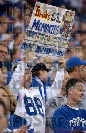Thank you, Blue: An Indianapolis Colts fan shares his gratitude during the team's game against the San Diego Chargers Sunday in Indianapolis.