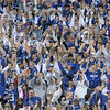Colts fans react after officials ruled that a dive into the endzone by wide receiver Reggie Wayne did result in a touchdown during the Colts' game against the San Diego Chargers Sunday in Indianapolis.