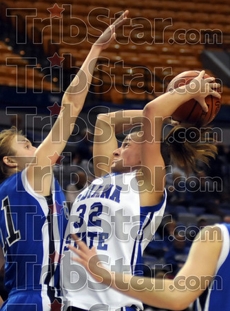 Tough shot: Indiana State's #32, Kara Schilli goes up for a jumpshot during game action against Creighton Thursday night.