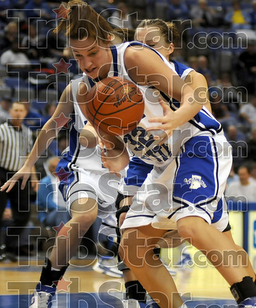 Got it: Indiana State's #32, Kara Schilli gets her hands on a rebound during game action Thursday night.
