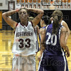 Reaction: Northview's #33, Stormi Raines reacts to fouling Clay City's #20, Angie Camp during action Tuesday night at Northview.