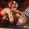 Pin position: Terre Haute South's Jordan Jensen waits for the official's decision as he keeps a hold on Sullivan's Roy Adams during their 112-pound match Tuesday at Terre Haute South. Jensen pinned Adams to win the match.