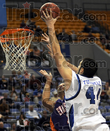 Strong: Indiana State's #44, Jay Tunnell goes strong to the basket during first half action against Evansville Thursday night at Hulman Center.