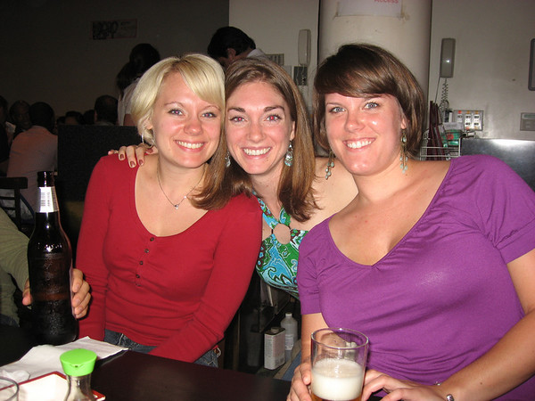 Stephanie, Jen and Chelsa (the school teachers) after sake bombs at Miyake's