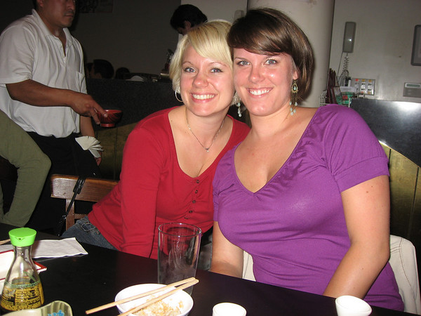 Stephanie and Chelsa after their first sake bomb at Miyake's