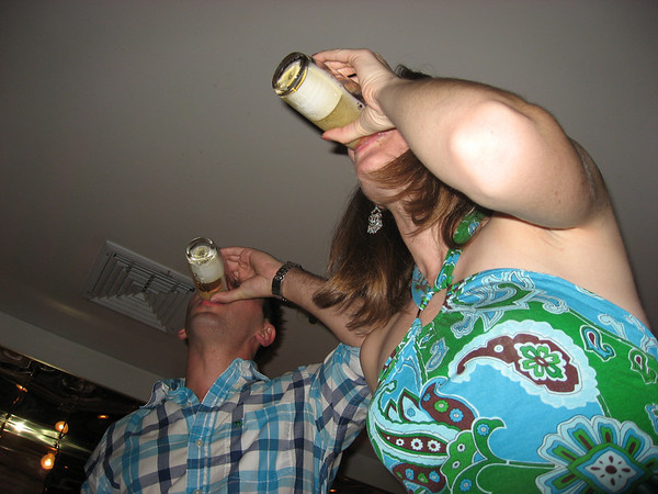 Aaron and Jen doing sake bombs at Miyake's