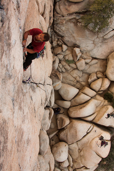 <i>Sail Away 5.8</i> goes down under Kelsey as he works his way higher.