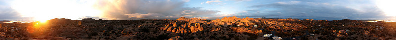 Another morning sun rises over a newly refreshed desert in a 360 degree panorama of the campground.
