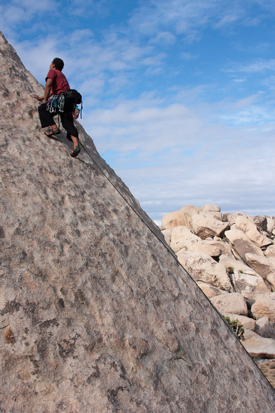 Kelsey runs it way out on <i>Zardoz 5.8R</i>.  The whole route has something like two p