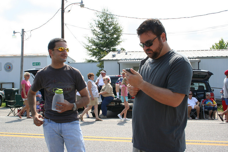 Morad and Robert, waiting for the parade to start.