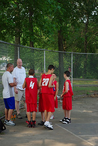 Nikhil (#20) telling his teammates how he plans to dunk this time.