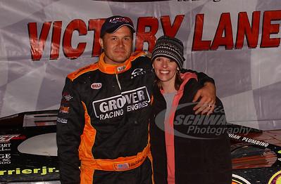 Eddie Carrier, Jr. and wife Jamie in Victory Lane