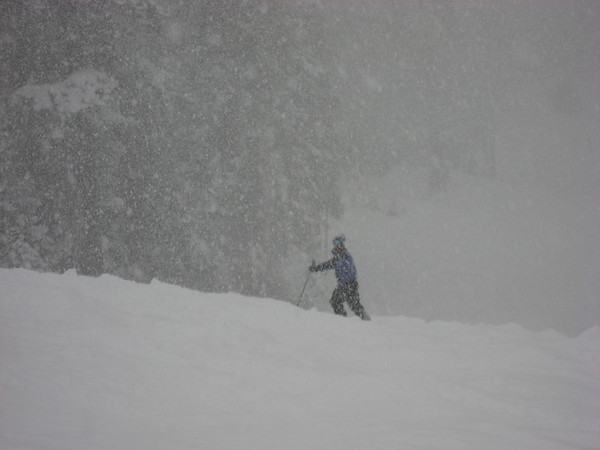 Brian waits for us to catch up after going down some awesome powder!