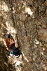 Kristina moves carefully up a 5.8 in Maple Canyon.