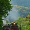 Pan Am's EDRJ rounding the curve in Zoar on Memorial Day, 2008.