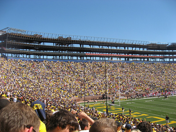 Construction at Michigan Stadium (The Big House). You can see the new boxes that they're adding. Hopefully it'll help keep some of the sound of 100,000+ people in.