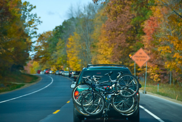 We got in a small little bit of traffic due to construction on our way up to Glen Arbor. It presented a nice chance to get a non-moving shot of Luke's van, his bikes, and the pretty trees.