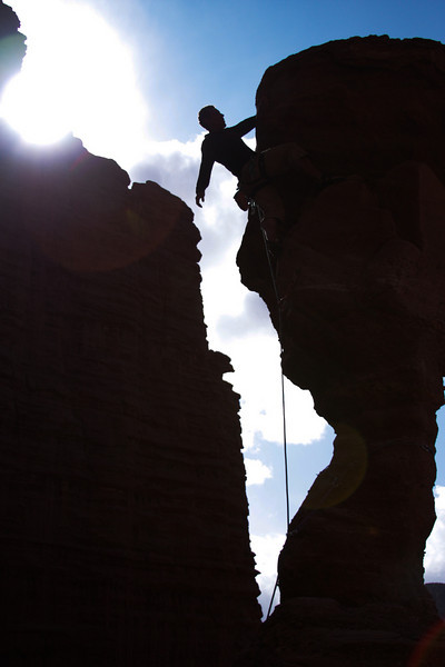 The bright sun lights up Kelsey as he moves into the last moves on <i>The Cobra 5.11r</i>.