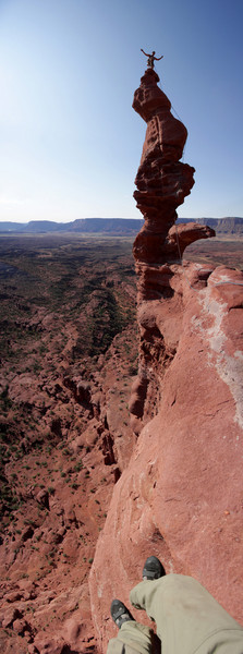 A stitched vertical panorama from Kelsey on one foot atop Ancient Art to the three-hundred foot exposure directly below.