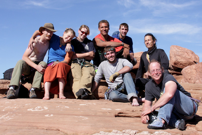 The whole makeshift eight-person party we formed to climb the <i>Kor-Ingalls Route 5.9</i> a little more efficiently.