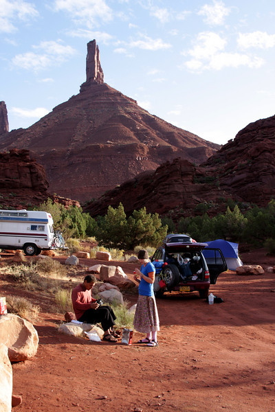 Our week in Moab begins with us camping at a free climber's campground below Castleton Tower, one of our targets for this trip.