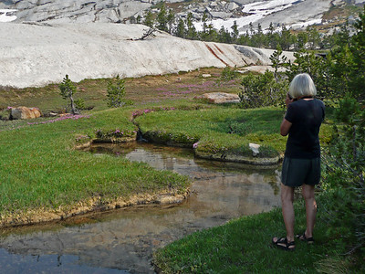Pat at the glacier scoured south end of Lower Cathedral Lake Basin.