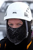 Ice Rescue Tech Dick Quinn eyes the camera with a layer of frost growing on his face.