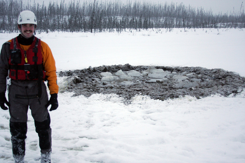 Two separate test holes were made, this one with C4 under the ice which directed more force downward and stirred things up a little in the mud.