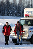 Dive team members Rodney Reese and Cliff Silvers stand by with the dive van.