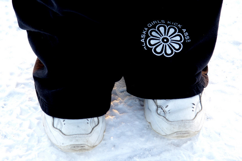 Although a stark contrast to the heavy duty cold weather gear the Mythbusters crew brought along, Pam's daisy sweats and tennies fight back the subzero temperatures rather effectively.