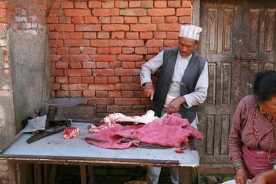 The butcher shop.