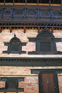 Woodwork in the ancient city of Baktapur, a place used for many movie sets.
