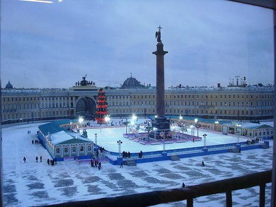 Ice Skating Rink and Christmas Decor in Palace Square - Liz Greenberg
