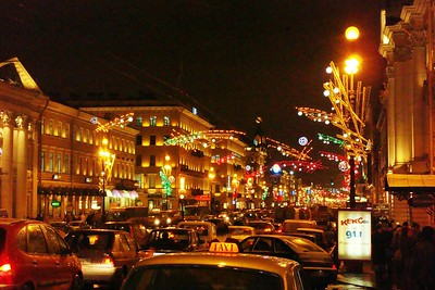 Nevskiy Prospekt Bedecked for the Holidays - Liz Greenberg