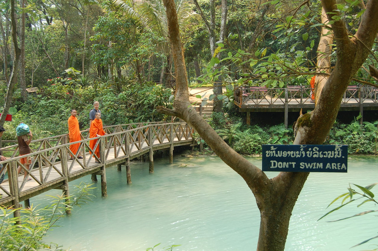 Monks and blue water