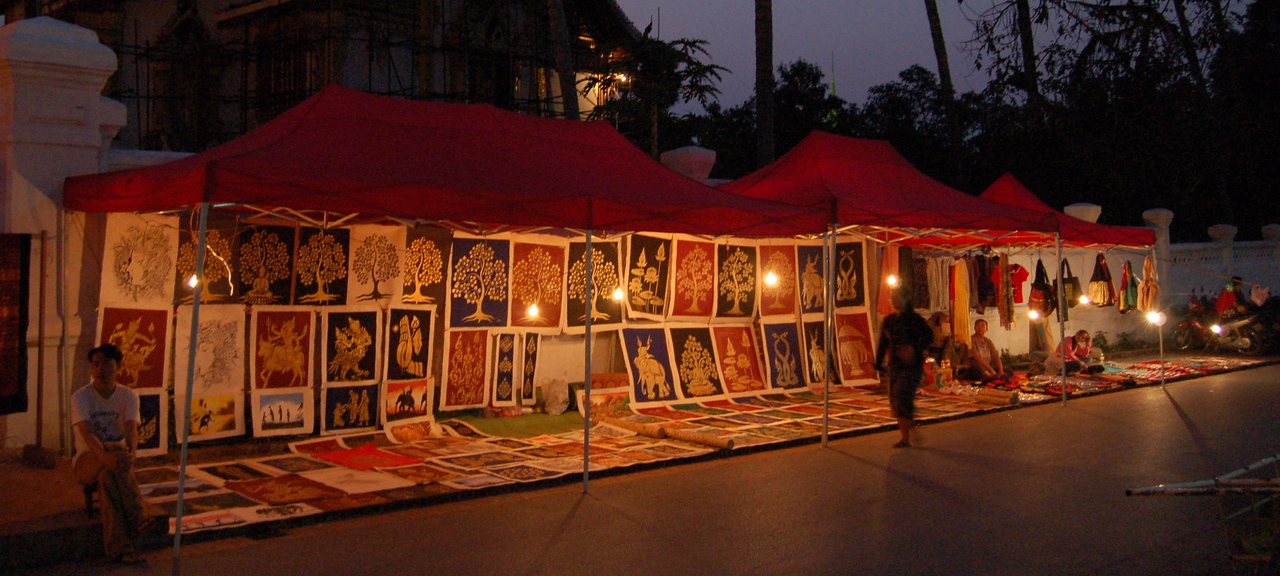 Painting at night market