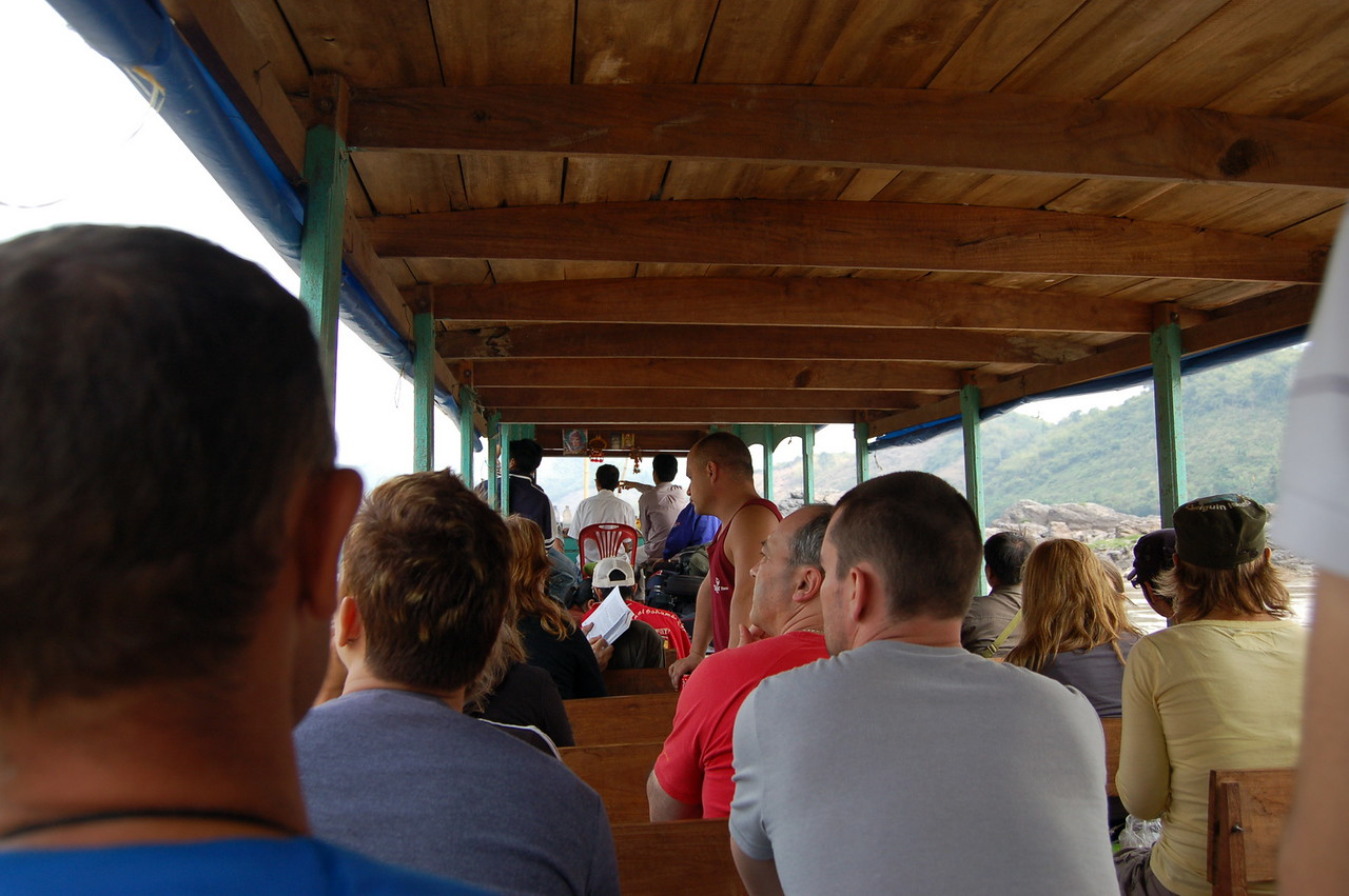 Tourists packed into the slow boat