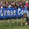 Sheer determination: Fort Wayne Carroll's Samantha Ginther crawls towards the finish line as a fellow competitor runs by during the IHSSA girls state cross country final at the Lavern Gibson course. Ginther made it to the finish line.
