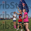Cheer leaders: Terre Haute North students Kylee Turner, Sam Bunch and Paige Trierweiler cheer on the Patriot cross country team Saturday during the boys state final at the Gibson course.