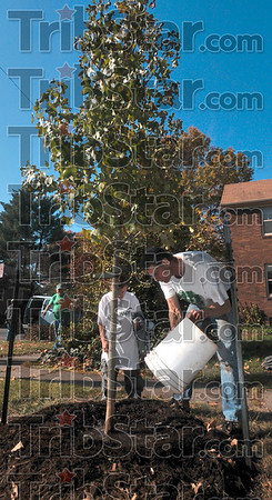 Volunteer Tom Gage waters a newly planted tree near the intersection of south Center and Minshall streets Saturday as his son, Seth, 6, looks on.