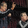 Greg and Steve: Greg and Steve entertain  a large audience at Woodrow Wilson Middle School Saturday afternoon.