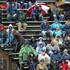 Foul weather friends: A small crowd gathered Saturday afternoon to watch ISU play against fourth-ranked UNI.