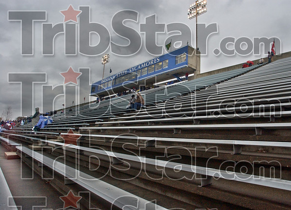 Sparse: The stands hold a small group of football fans during Saturday's 28-0 defeat at the hands of UNI.