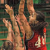 Up and over: Dragna Grbic loops a shot over two Mustang defenders in first half action in the championship game of the Clabber Girl Classic Saturday night at West Vigo.