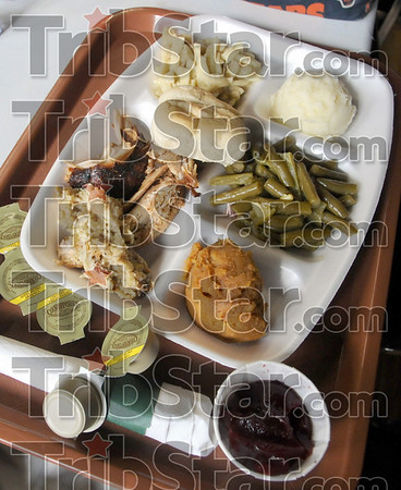 The works: Detail photo of food being served at the Hillcrest Community Center Saturday afternoon.