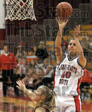 For two: Terre Haute South's #40, Dragana Grbic launches a short jump shot to score during first half action against Northview Saturday night.