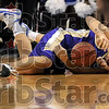 Diving for possession: Albion's Bill Leising and Indiana State's Tyler Cutter collide on the court for a loose ball during the Sycamores' 69-64 win Saturday at Hulman Center.
