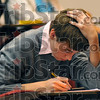 Thinker: Terre Haute South Vigo High School junior John Ryan deliberates over questions on his test Saturday at Rose-Hulman.