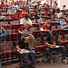 Concentration: High school students quietly go about trying to solve their math problams Saturday. Over 400 students from Indiana, Illinois and Iowa took part in the 43rd Rose-Hulman math contest.