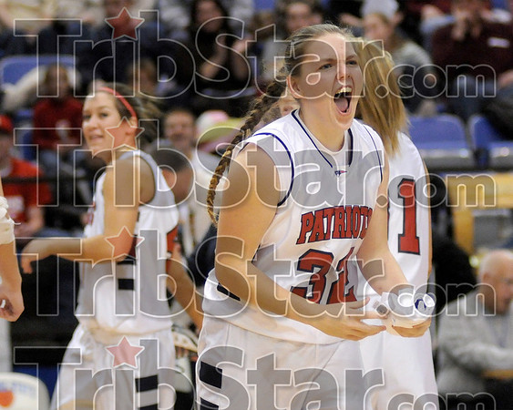 Pumped up and ready to go: Terre Haute North's Francesca McCarthy yells towards the Patriot fans before the start of the girls North-South game Friday, Jan. 25 at Hulman Center.